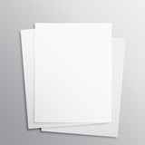stack of three empty papers mockup template - 135824299