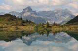 Mount Engelberger Rothorn mirroring in lake Trubsee
