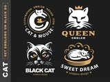 Set logo illustration cat, emblem design on black background