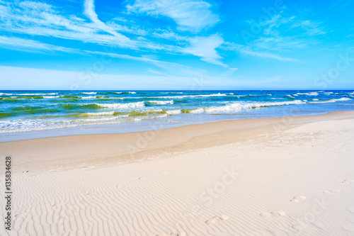 White sand and beautiful sea on Debki beach, Baltic Sea, Poland - 135834628