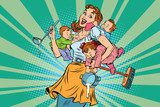 Fototapety Cheerful mother with three children