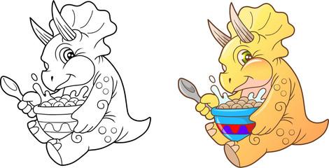 funny little triceratops eating breakfast © fargon