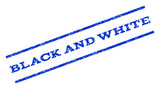 Black and White watermark stamp. Text caption between parallel lines with grunge design style. Rotated rubber seal stamp with dust texture. Vector blue ink imprint on a white background.