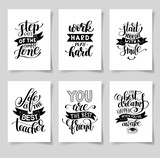 set of six hand written lettering positive inspirational quote