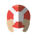 hand holding life buoy rescue shadow vector illustration eps 10