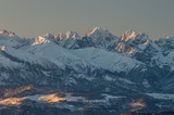 Beautiful winter panorama over Spisz highland to snowy Tatra mountains in the morning, Poland