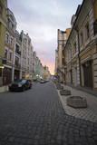 City street with pavement in the evening light. Kiev, Ukraine
