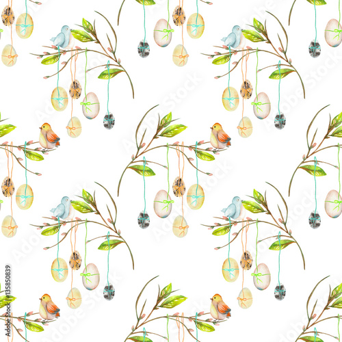 Cotton fabric Seamless pattern with Easter eggs on the spring tree branches, hand drawn isolated on a white background