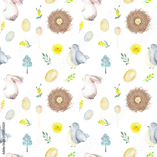 Cotton fabric Seamless pattern with watercolor Easter rabbits, bird nests, eggs, birds, yellow and green branches, hand drawn isolated on a white background