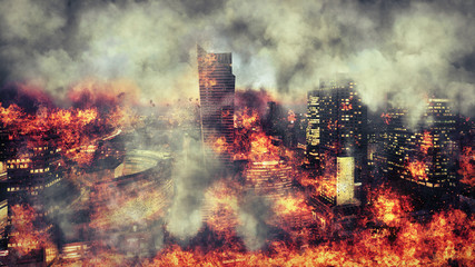 Apocalypse. Burning city, abstract vision.Photo manipulation