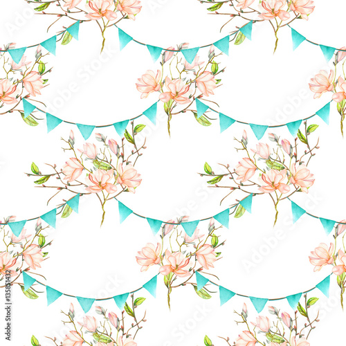 Seamless pattern with garlands of the blue flags on spring magnolia tree branches, hand drawn on a white background - 135851432