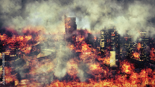 Leinwanddruck Bild Apocalypse. Burning city, abstract vision.Photo manipulation