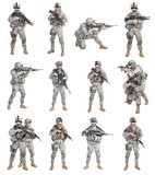 Set of united states paratroopers infantrymen isolated on white background