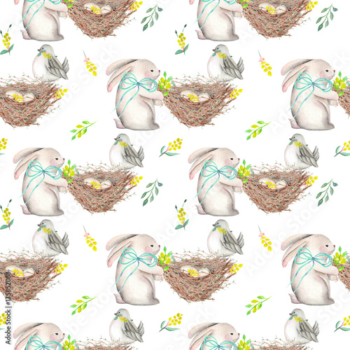 Materiał do szycia Seamless pattern with watercolor Easter rabbits, nests with bird eggs, yellow and green branches, hand drawn isolated on a white background