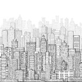 City landmark background. Hand drawn illustration - 135853651
