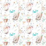 Seamless pattern with watercolor rabbits, floral elements and flowers in a pots, hand drawn isolated on a white background