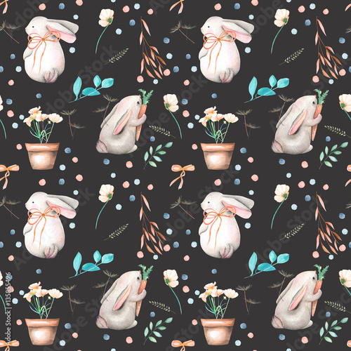 Seamless pattern with watercolor rabbits, floral elements and flowers in a pots, hand drawn isolated on a dark background - 135855496