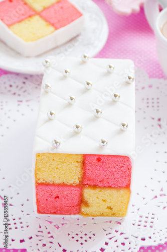 "Poster Classic cake biscuit ""Battenberg"" with marzipan."