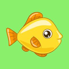 Small yellow fish cartoon