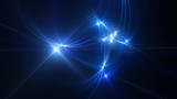 Blue glowing circular intersections in space