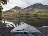 Beautiful Autumn Fall landscape image of Lake Buttermere in Lake