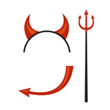 Devil horns, trident, mantle and tail isolated on white background. illustration. - 135862040