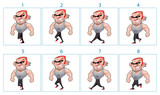 Walking animation of a cartoon angry character in 8 frames in lo