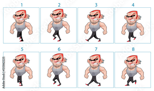 Staande foto Kinderkamer Walking animation of a cartoon angry character in 8 frames in lo