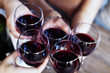 Glasses of red wine. Top view. The concept of party