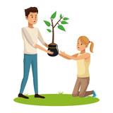 man and girl pot tree nature planting vector illustration eps 10
