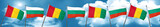 Guinea flag with Bulgaria flag, 3D rendering
