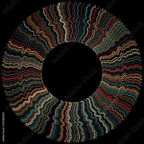 Rays ring for design project on black - vector illustration  - 135882031