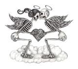 Skull cupid fantasy. Art design  cupid skull smiley face in love fantasy hand pencil drawing on paper.