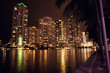 Downtown Miami Skyline. Brickell Key at night.