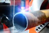 CNC plasma cutting machine for metal pipes.