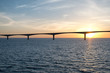 Panoramic view of the Confederation Bridge over sunset sky Northumberland Strait Prince Edward Island Canada