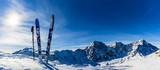 Ski in winter season, mountains and ski touring backcountry equi - 135901613