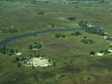 Flight over Okavango Delta in rainy season