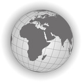 Europe and africa map in gray tones. Vector map earthglobe worldmap