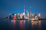 shanghai skyline panoramic view at night