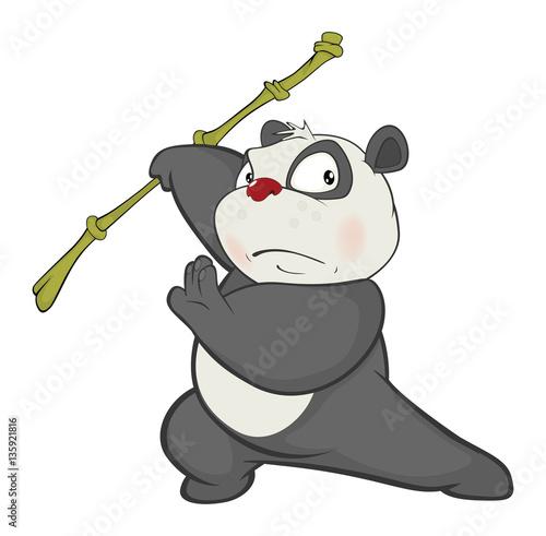 Deurstickers Babykamer Illustration of a Cute Panda. Cartoon Character