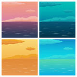 Set of Sea background with waves and clouds. Vector flat illustration.