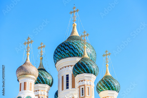 Tuinposter Nice Ditail of Russian Orthodox Cathedral in Nice