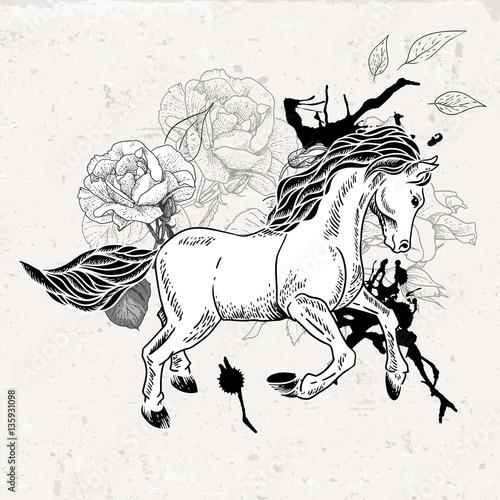 Hand drawn monochrome sketch horse