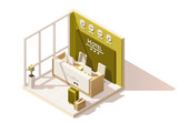 Vector isometric low poly hotel reception cutaway icon. Includes reception desk and suitcases