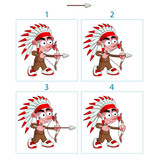 Animation of native boy in 4 frames with bow and arrow