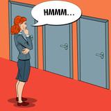 Fototapety Pop Art Doubtful Businesswoman Choosing the Right Door. Vector illustration