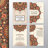 Set of vintage invitation and background design with Mandala decoration. Round decorative ornament design for greeting card, wedding invite, notebook cover, flyer or leaflet design