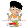 kid happy with steak.
