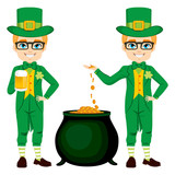Young boy with leprechaun costume celebrating Saint Patrick with golden beer and cauldron full of gold money coins